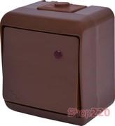 Выключатель проходной с подсветкой, накладной, коричневый, IP 54 Hermetics ETI 4668048