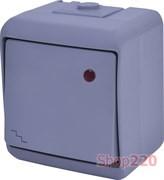 Выключатель проходной с подсветкой, накладной, серый, IP 54 Hermetics ETI 4668068