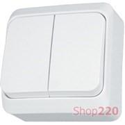 Выключатель 2-х клавишный накладной, белый, Prima WDE001050 Schneider Electric