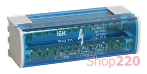 Кросс модуль на DIN-рейку в корпусе, 125А, 2 полюса, ШНК 2х15 L+PEN IEK