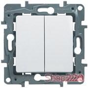 Проходной выключатель 2-х клавишный, белый, 672212 Legrand Etika
