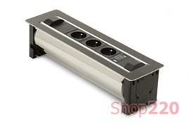 Вращающийся блок розеток 3х220В + USB, черное стекло, Versaturn ASA 060.24F.00002