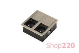 Врезная розетка в стол 2х220В, никель, Versahit ASA 060.15F.00002
