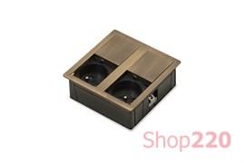 Врезная розетка в стол 2х220В, бронза, Versahit ASA 060.15F.00004