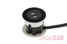 Врезная розетка USB, черный, Versadot USB ASA 060.30Y.00006