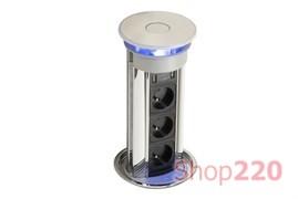 Выдвижной блок розеток 3х220В, алюминий/черный, Versalux ASA 060.13F.00001