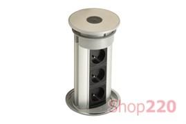 Выдвижной блок 3х220В + USB, хром/черный, Versaelite ASA 060.05F.00008
