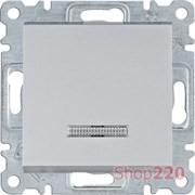 Выключатель одноклавишный с подсветкой, серебристый, Lumina WL0212 Hager