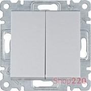 Выключатель двухклавишный, серебристый, Lumina WL0042 Hager