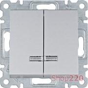 Выключатель двухклавишный с подсветкой, серебристый, Lumina WL0242 Hager