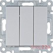 Выключатель трехклавишный, серебристый, Lumina WL0072 Hager