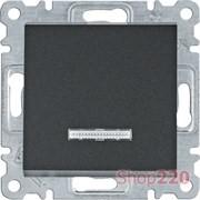 Выключатель с подсветкой одноклавишный, черный, Lumina WL0213 Hager