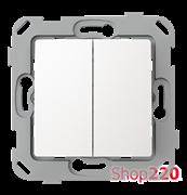Выключатель проходной двухклавишный, белый, PLK0221031 Plank Electrotechnic