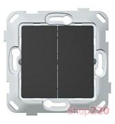 Выключатель проходной двухклавишный, антрацит, PLK0221241 Plank Electrotechnic