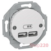 USB розетка тип А+А, 2.1 А, белый, Renova WDE011760 Schneider