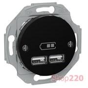 USB розетка тип А+А, 2.1 А, черный, Renova WDE011761 Schneider