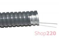 Металлорукав в ПВХ оболочке 15 мм с протяжкой, Р3-Ц-П-15, черный (25 м), СКаТ