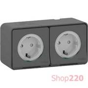 Блок электрических розеток 2х220В, накладной IP55, черный, Mureva Styl Schneider MUR36029