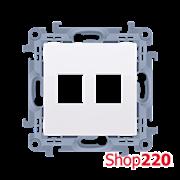 Розетка информационная под модуль 2xRJ45 Keystone, белый, SIMON10