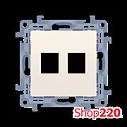 Розетка информационная под модуль 2xRJ45 Keystone, кремовый, SIMON10
