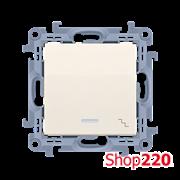Выключатель проходной одинарный с подсветкой, кремовый, SIMON10