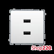 Розетка USB зарядка, двойная, 2.1А, белый, Basic Simon