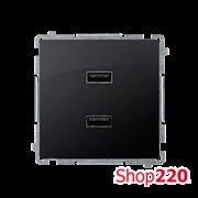 Розетка USB зарядка, двойная, 2.1А, графит, Basic Simon