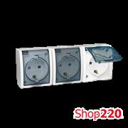 Розетка электрическая тройная с заземлением и прозрачной крышкой, белый, AQUARIUS IP54 Simon