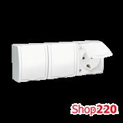 Розетка электрическая тройная с заземлением и крышкой, белый, AQUARIUS IP54 Simon