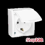 Розетка электрическая с заземлением со шторками, с крышкой, белый, AQUARIUS IP54 Simon