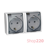 Розетка электрическая двойная с заземлением и прозрачной крышкой, белый, AQUARIUS IP54 Simon