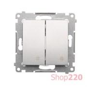Выключатель двойной перекрестный, серебро, SIMON54
