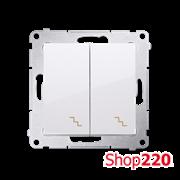 Выключатель двойной проходной, белый, SIMON54