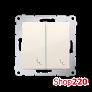 Выключатель двойной проходной, кремовый, SIMON54
