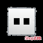 Розетка информационная прямая под 2xRJ45 Keystone, с суппортом, белый, Basic Simon
