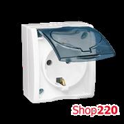 Розетка электрическая с заземлением и прозрачной крышкой, белый, AQUARIUS IP54 Simon