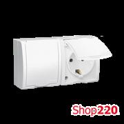 Розетка электрическая двойная с заземлением и крышкой, белый, AQUARIUS IP54 Simon