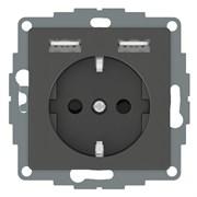 Розетка электрическая с USB, антрацит, Merten MTN2366-0414