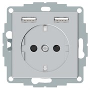 Розетка электрическая с USB, алюминий, Merten MTN2366-0460