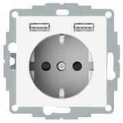 Розетка электрическая с USB, полярно-белый, Merten MTN2366-0319
