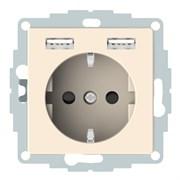 Розетка электрическая с USB, бежевый, Merten MTN2366-0344