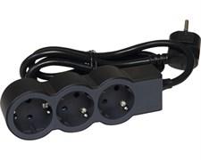 Удлинитель на 3 розетки, 16 А, кабель 1,5 м, черный, стандарт 694550 Legrand