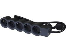Удлинитель на 5 розеток, 16 А, кабель 1,5 м, черный, стандарт 694556 Legrand