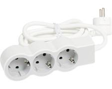 Удлинитель на 3 розетки, 16 А, кабель 3 м, белый/серый, стандарт 694559 Legrand