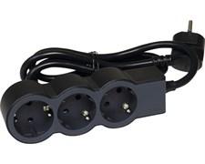 Удлинитель на 3 розетки, 16 А, кабель 3 м, черный, стандарт 694560 Legrand